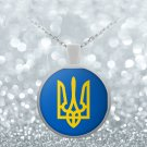 Tryzub (Yellow) - Round Pendant Necklace - Patriotic Ukrainian Trident Ukraine