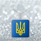 Tryzub (Yellow)- Square Pendant Necklace - Patriotic Ukrainian Trident Ukraine