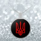 Tryzub (Red) - Round Pendant Necklace - Patriotic Ukrainian Trident Ukraine