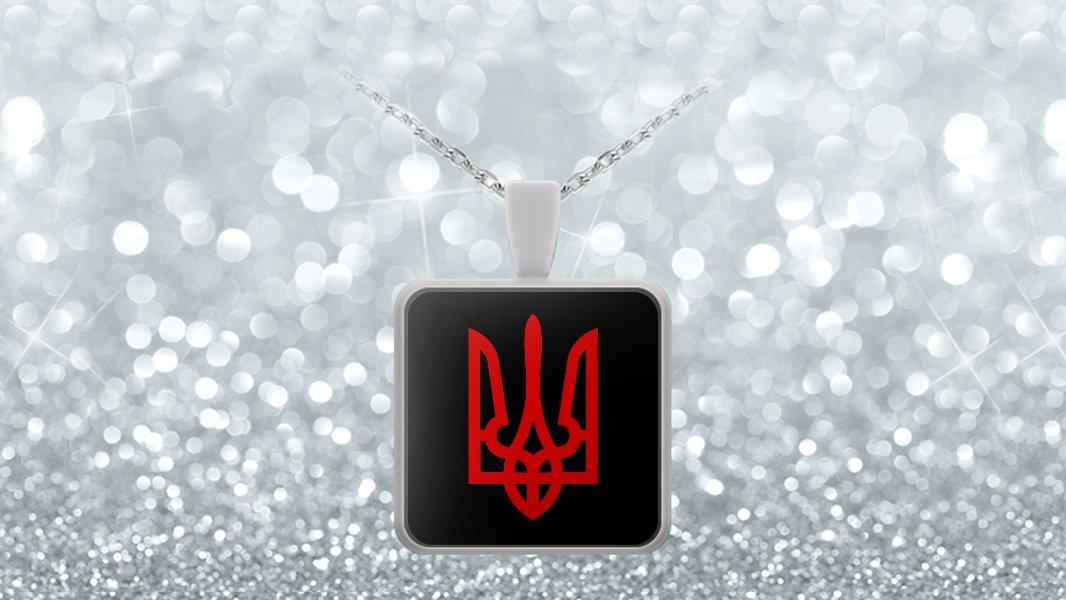 Tryzub (Red) - Square Pendant Necklace - Patriotic Ukrainian Trident Ukraine