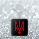 Tryzub (Red) - Square Pendant Necklace - Patriotic Ukrainian Trident Ukraine