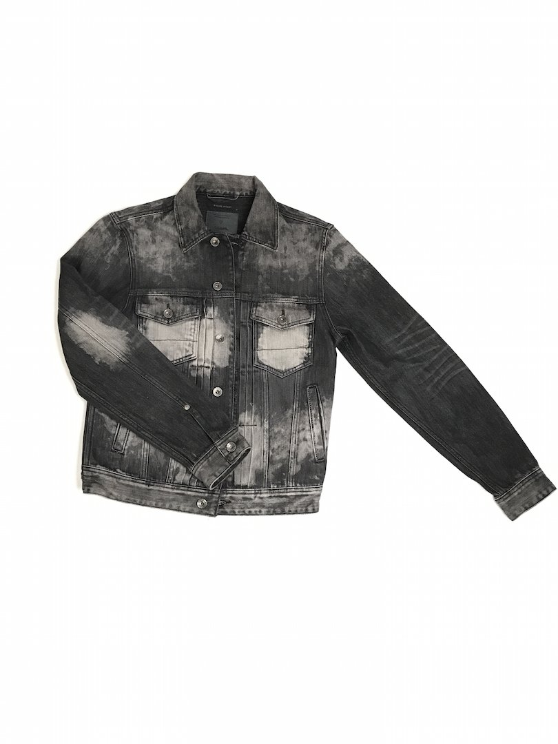 Black wash denim jacket Guess for men on sales