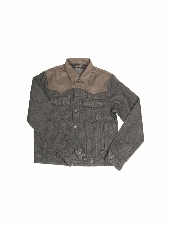 Brown and grey denim jacket GUESS