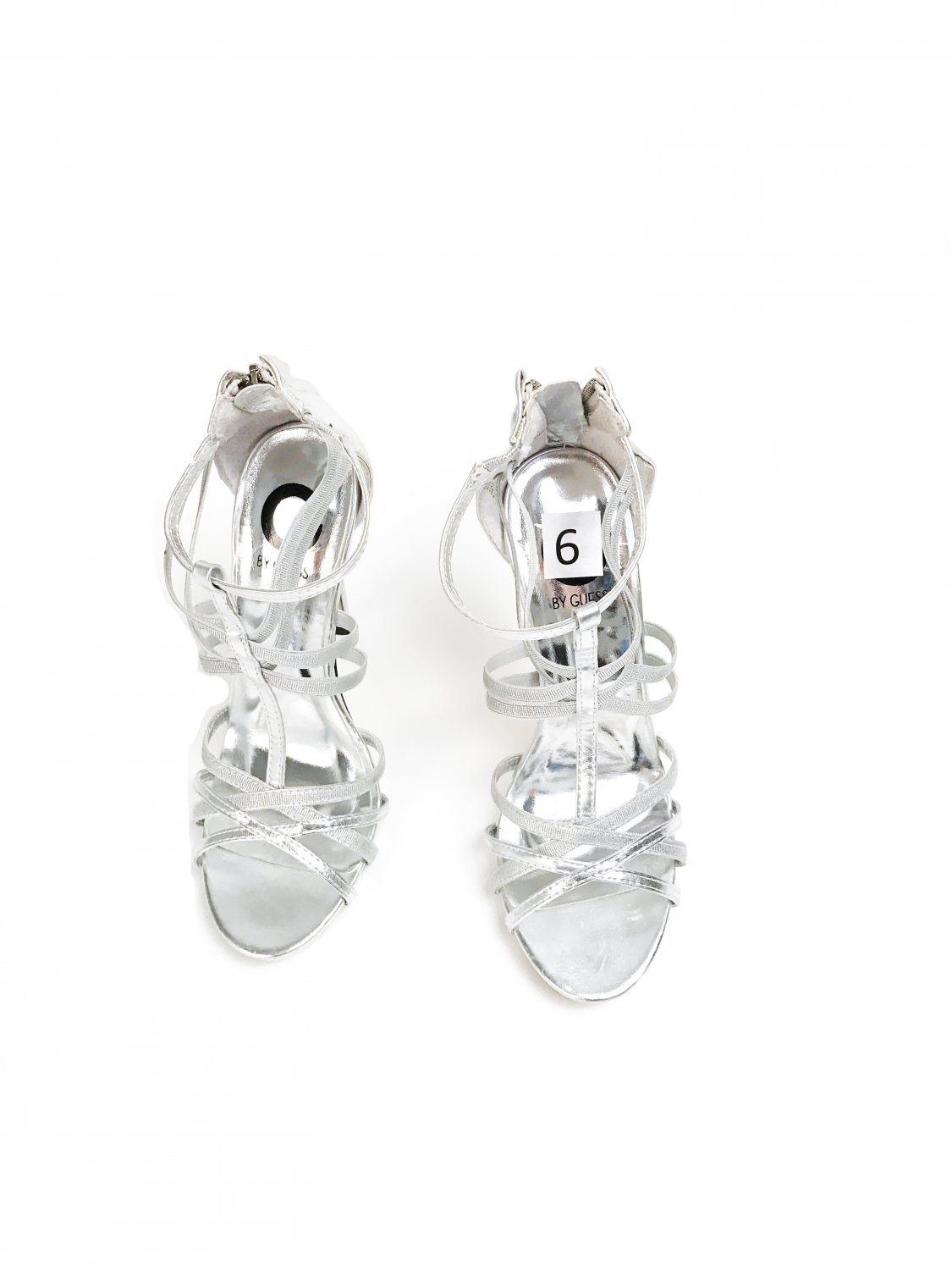 Guess shoes high heels silver sandals.
