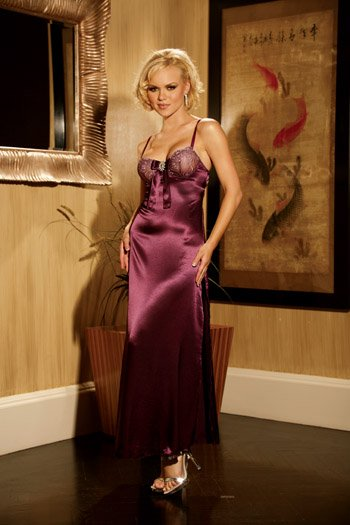 CHARMEUSE GOWN WITH RHINESTONE JEWEL SIZE (LARGE 37-40)