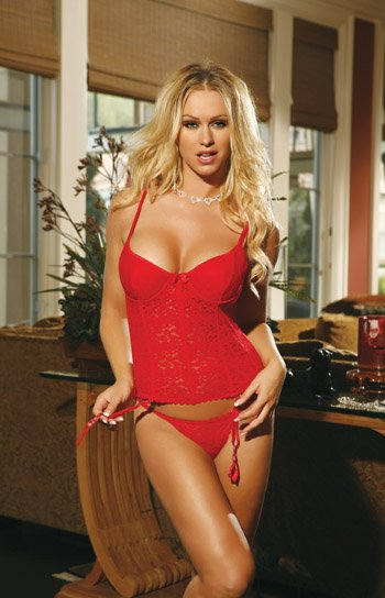 BEAUTIFUL BUSTIER IN ELEGANT LACE & G-STRING SIZE (LARGE 37-40)