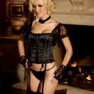 ROMANTIC SATIN BUSTIER WITH LACE SLEEVE & G-STRING (SMALL 32-34)