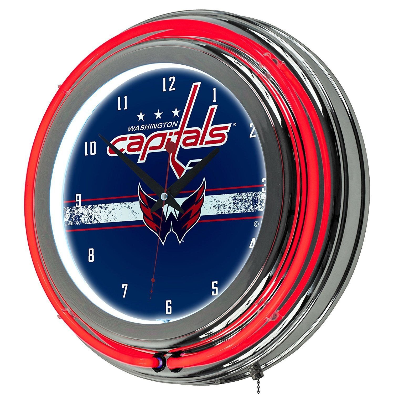 NHL-Washington Capitals-Chrome-Double-Rung-Neon-Clock
