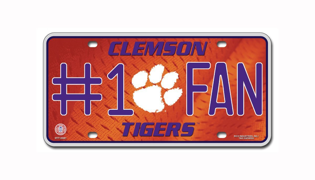 Clemson Tigers NCAA Number One Fan License Plate