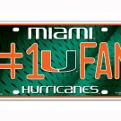 Miami Hurricanes NCAA Number One Fan License Plate