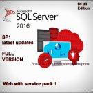 Microsoft SQL Server 2016 Web SP1 64bit Lifetime Edition Licence Key & Software