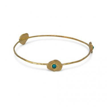 Brass and Reconstituted Turquoise Bangle