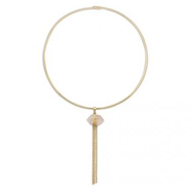 Gold Tone Fashion Collar with Chain Tassel and Rose Quartz