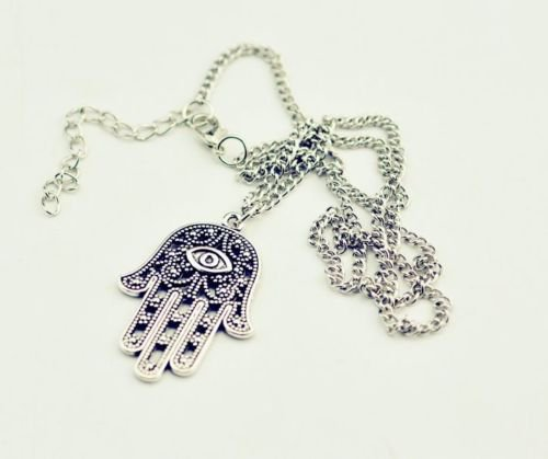 Hamsa Fatima Hand Evil Eye CHARM Pendant Chain Necklace Jewish Judaica Kabbalah