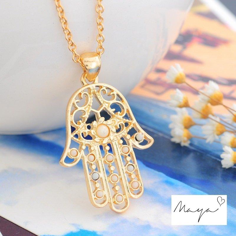 1PC Charm Pendant Chain Necklace Hamsa Fatima Hand Jewish Judaica Kabbalah