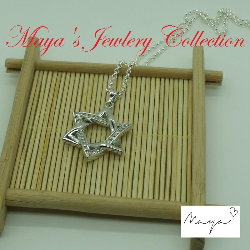 Hot 925 Silver Plated Jewish Star of David Charm Necklace Pendant