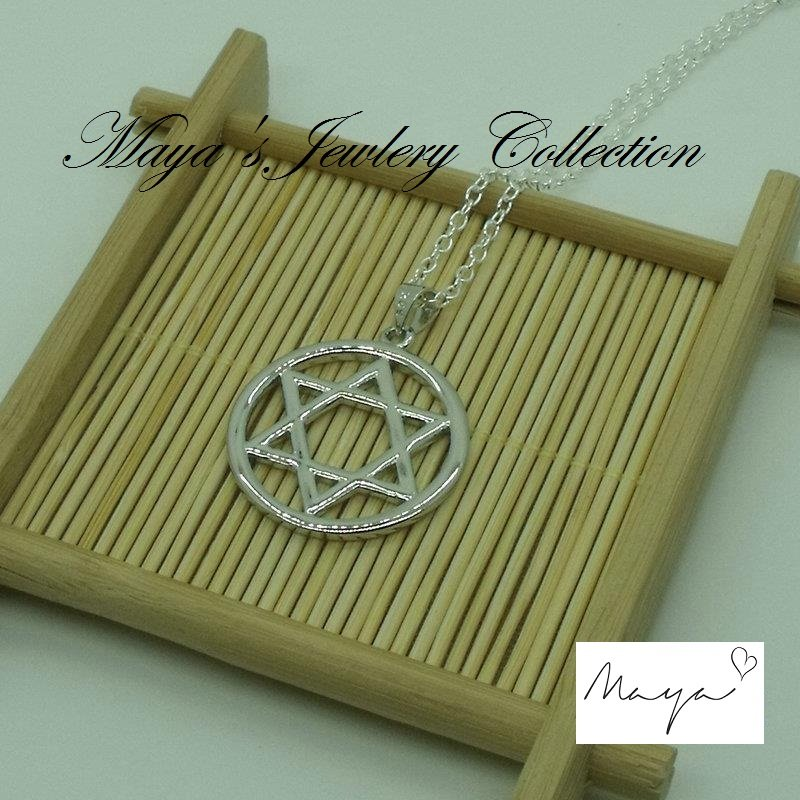 Hot 925 Silver Plated Pendant For Necklace Men Jewish Star of David