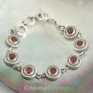 Bracelet Genuine 925 Sterling SILVER & Red Garnet 25.60 g ~ Size 8 ¼ inches