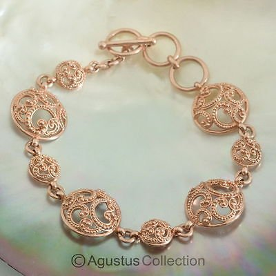 Bracelet Genuine 18K Rose Gold over Sterling SILVER 12.65 g Size 7  ~ Handmade