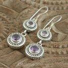 Hook EARRINGS Sterling SILVER & Genuine Amethyst 8.40 g ~ Handmade in Bali
