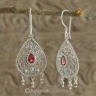 Hook EARRINGS Sterling SILVER & Genuine Red Garnet 6.05 g ~ Handmade in Bali