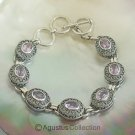 Bracelet Genuine Amethyst & 925 Sterling SILVER 20.05 g ~ Size 7 inches