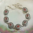 Bracelet Genuine Garnet 925 Sterling SILVER 20.18 g ~ Size 6 ¾ inches