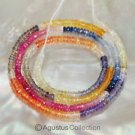 Multicolor SAPPHIRE 17.5 inch Strand Faceted Rondelle Gemstone Beads 32.5 ct