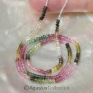 Multicolor TOURMALINE 14.7 inch Strand 30 ct Faceted Rondelle Gemstone BEADS
