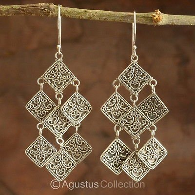 Hook EARRINGS Genuine 925 Sterling Silver 9.90 g ~ Handmade in Bali