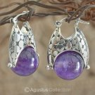 Creole EARRINGS Genuine Amethyst & 925 Sterling SILVER 11.80 g ~ Handmade
