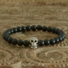 Stretch Bracelet 925 Sterling SILVER Skull ONYX Beads 13.35 g ~ Size 6 ½ inches