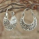 Creole EARRINGS Genuine 925 Sterling SILVER 5.50 g ~ Handmade in Bali