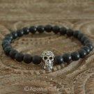 Stretch Bracelet Genuine 925 Sterling SILVER Skull ONYX 13.00 g ~ Size 6 ¼ inch