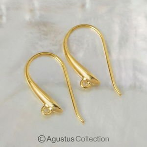 24K Gold Vermeil on 925 SILVER Earring Findings Hooks Pair 3-Micron Gold 1.30 g