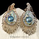 Multicolor PAUA ABALONE Shell Carving & Mabe Pearl PEACOCK Feather Earring Pair
