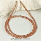 Padparadscha SAPPHIRE 16.9 inch Strand Faceted Rondelle Gemstone Beads 44 ct