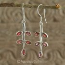 Hook EARRINGS Sterling SILVER & Genuine Red Garnet 4.36 g ~ Handmade in Bali