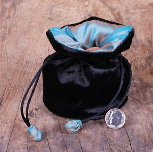 ELEGANT Turquoise SILK & Black Velvet JEWELRY Bag GIFT POUCH Packing