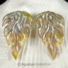 Iridescent Oyster SHELL CARVED Floral Design Earring Pair Handmade in Bali 7.77g