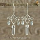 Hook EARRINGS Sterling SILVER, Genuine Blue TOPAZ & Crystal 3.85 g ~ Handmade