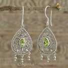 Hook EARRINGS Sterling SILVER & Genuine Green Peridot 5.98 g ~ Handmade in Bali