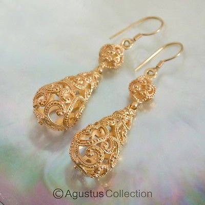 Hook EARRINGS Genuine 24K Gold Vermeil over Sterling SILVER 11.52 g ~ Handmade