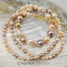 NECKLACE Multicolor Freshwater PEARLS & 24K Gold Vermeil on 925 Sterling SILVER