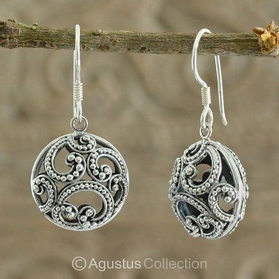 Hook EARRINGS Genuine 925 Sterling Silver 5.94 g ~ Handmade in Bali
