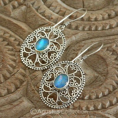 Hook EARRINGS Sterling SILVER & Australian Triplet Opal 5.40 g ~ Handmade