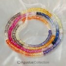 Multicolor SAPPHIRE 17.4 inch Strand Faceted Rondelle Gemstone Beads 32.75 ct