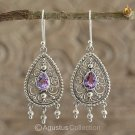 Hook EARRINGS Sterling SILVER & Genuine Amethyst 6.00 g ~ Handmade in Bali