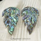 Multicolor PAUA ABALONE SHELL Iridescent Floral Design Earring PAIR 2.58 g
