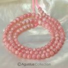 "RHODOCHROSITE 15.7"" Strand Smooth 4 mm Round Gemstone Beads 75 ct"